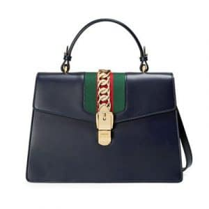 Gucci Blue Smooth Leather Sylvie Top Handle Bag