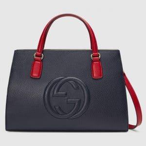 Gucci Blue/Hibiscus Red Medium Soho Top Handle Bag