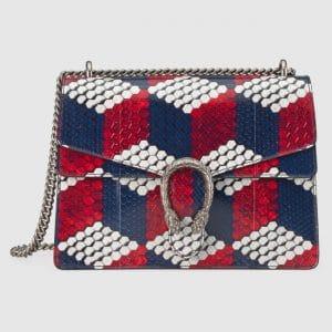 Gucci Blue/Red/White Cubic Printed Python Medium Dionysus Bag