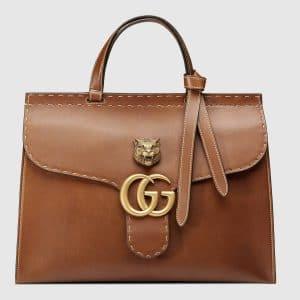 Gucci Brown Feline Embellished Structured Leather GG Marmont Medium Top Handle Bag