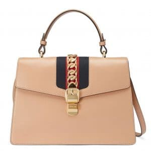 Gucci Camel Smooth Leather Sylvie Top Handle Bag