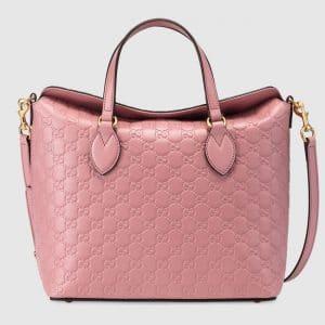 Gucci Candy Pink Signature Medium Top Handle Bag