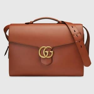 Gucci Cuir Leather GG Marmont Briefcase Bag