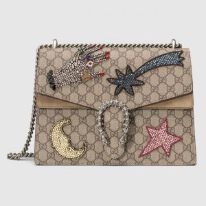 Gucci GG Supreme Rhinestone Emroidered Medium Dionysus Bag