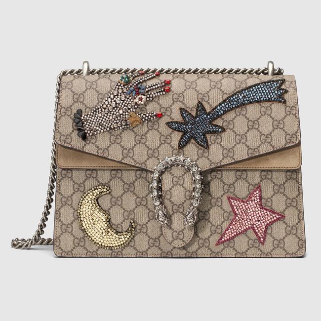 b1762f38b27 Gucci GG Supreme Rhinestone Emroidered Medium Dionysus Bag