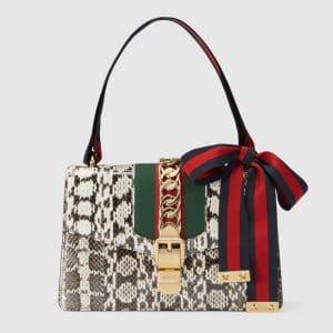 Gucci Grey Snake Small Sylvie Shoulder Bag