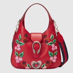 Gucci Hibiscus Red Floral Embroidered Medium Dionysus Hobo Bag