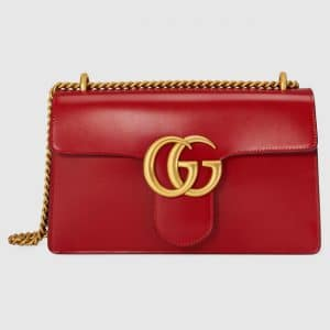 Gucci Hibiscus Red Leather GG Marmont Medium Flap Bag