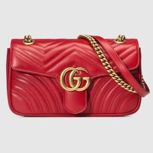 Gucci Hibiscus Red Matelasse GG Marmont Small Flap Bag