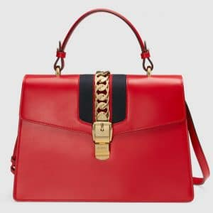 Gucci Hibiscus Red Smooth Leather Sylvie Top Handle Bag