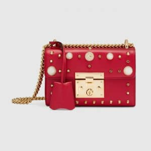 Gucci Hibiscus Red Studded Small Padlock Shoulder Bag
