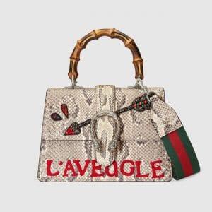 Gucci Natural Python Medium Dionysus Top Handle Bag