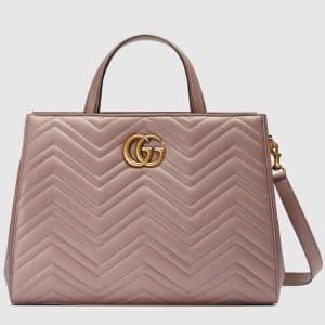 Gucci Nude Matelasse GG Marmont Medium Top Handle Bag