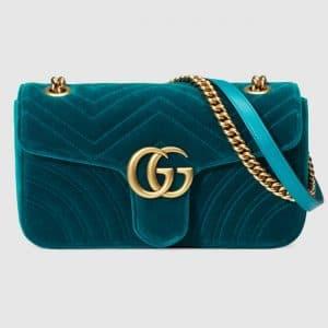 Gucci Petrol Blue Velvet Chevron GG Marmont Small Flap Bag