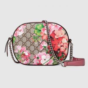 Gucci Pink Blooms Print GG Supreme Mini Chain Bag