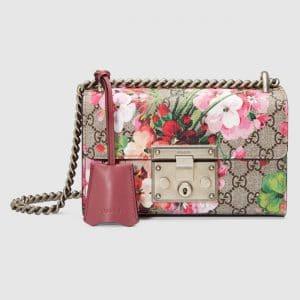 Gucci Pink Blooms Print GG Supreme Small Padlock Shoulder Bag