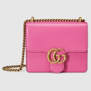 Gucci Pink Leather GG Marmont Small Flap Bag