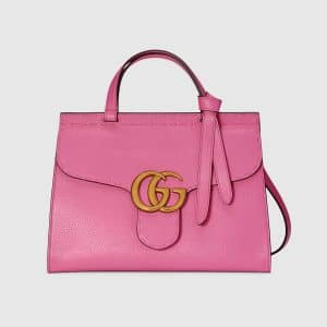 Gucci Pink Leather GG Marmont Small Top Handle Bag