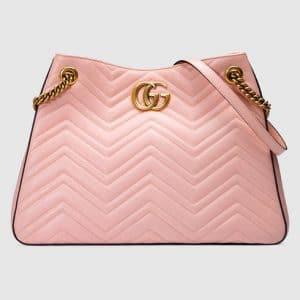 Gucci Pink Matelasse GG Marmont Medium Shoulder Bag