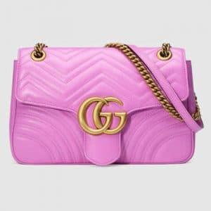 Gucci Pink Matelasse Medium GG Marmont Shoulder Bag
