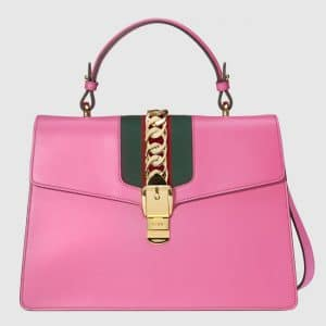 Gucci Pink Smooth Leather Sylvie Top Handle Bag