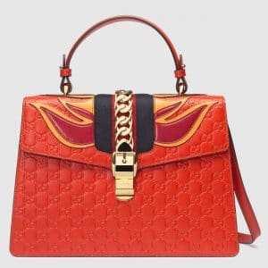 Gucci Red Flame Sylvie Gucci Signature Top Handle Bag