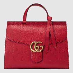 Gucci Red Leather GG Marmont Medium Top Handle Bag