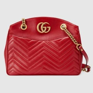 Gucci Red Matelasse GG Marmont Medium Tote Bag