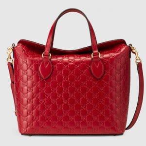 Gucci Red Signature Medium Top Handle Bag