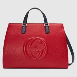Gucci Red/Blue/White Large Soho Top Handle Bag