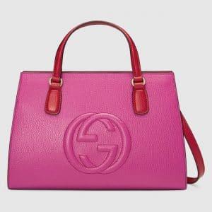 Gucci Red/Pink Medium Soho Top Handle Bag