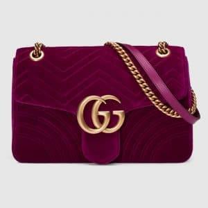 Gucci Rubin Velvet Chevron GG Marmont Medium Flap Bag