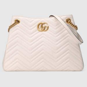 Gucci White Matelasse GG Marmont Medium Shoulder Bag