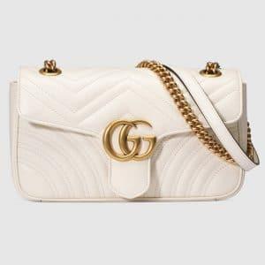 Gucci White Matelasse GG Marmont Small Flap Bag