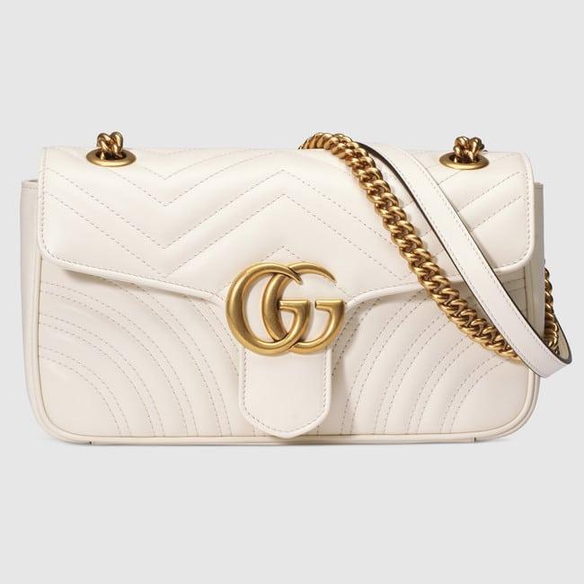 515f86bc7b3 Gucci White Matelasse GG Marmont Small Flap Bag