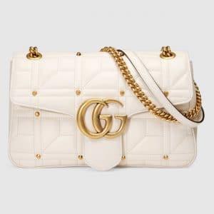 Gucci White Studded Matelasse GG Marmont Medium Flap Bag