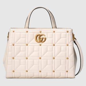 Gucci White Studded Matelasse GG Marmont Medium Top Handle Bag