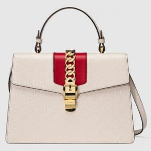Gucci White Sylvie Gucci Signature Top Handle Bag