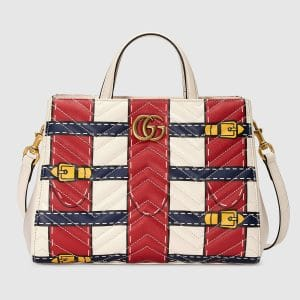 Gucci White/Red/Blue Trompe L'oeil Print GG Marmont Small Top Handle Bag