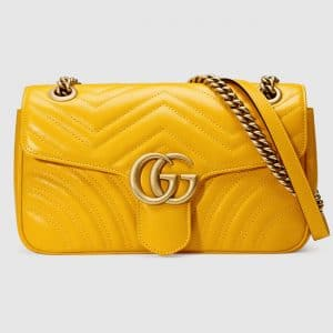 Gucci Yellow Matelasse GG Marmont Small Flap Bag