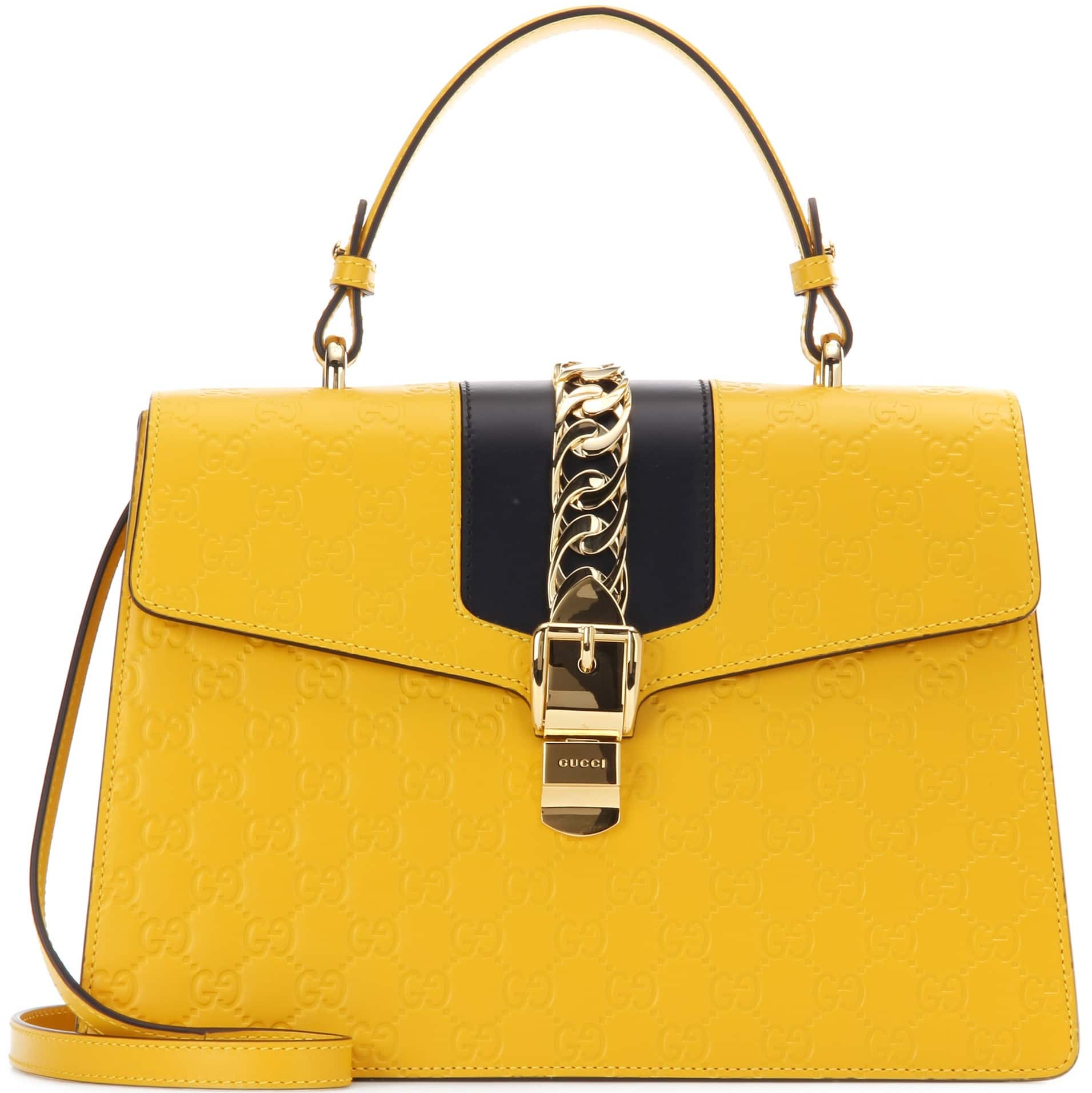 de7ef38a891 Gucci Yellow Black Sylvie Gucci Signature Top Handle Bag