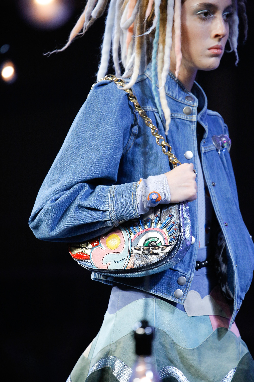 Marc Jacobs Metallic Blue Python Flap Bag Spring 2017
