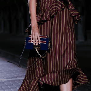 Mulberry Blue Striped Flap Bag - Spring 2017