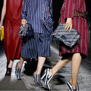 Mulberry Blue Striped Flap Bags - Spring 2017