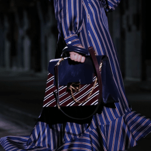 Mulberry Blue/Burgundy Striped Top Handle Bag 2 - Spring 2017