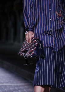 Mulberry Blue/Red Striped Studded Flap Bag - Spring 2017