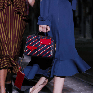 Mulberry Blue/Red Striped Top Handle Bag - Spring 2017