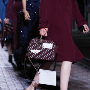 Mulberry Burgundy/White Striped Top Handle Bag - Spring 2017