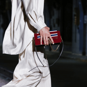 Mulberry Red Striped Mini Flap Bag - Spring 2017