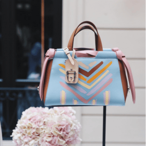 Paula Cademartori Light Blue/Pink/Tan Printed Tote Bag - Spring 2017
